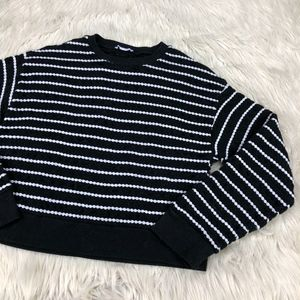 Zara Trafaluc Textured Striped Pull Over Sweater